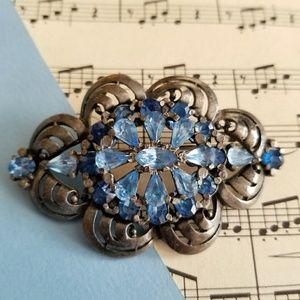 Vintage large sky blue rhinestones brooch silver